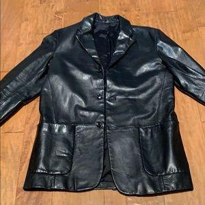 Banana Republic men's leather long coat